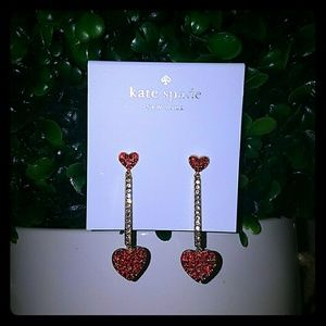 Kate spade pave drop heart Earrings